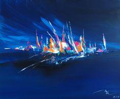 St-Malo toile abstraite acrylique 73x60 cm - Artiste Michael Aksamit : Peintures par madesign