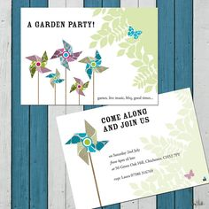 pack of ten personalised pinwheel invites by little bulldog design | notonthehighstreet.com