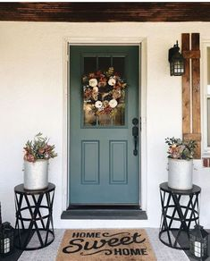 """Most recent Pic Farmhouse Front Door color Concepts Interior designers often make reference to art as """"the jewelry of the property,"""" but in regards Front Door Ideas Brick House, Updating House, Front Porch Decorating, House, House Front Porch, Exterior Paint Colors For House, Paint Colors For Home, Painted Doors, House Exterior"""