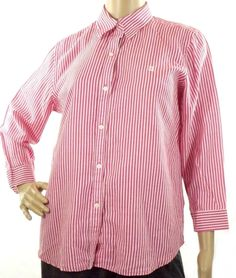 Chaps Women's Sz M Blouse Shirt Button Up  Pink White Striped 3/4 Sleeve   #Chaps #Blouse #Casual