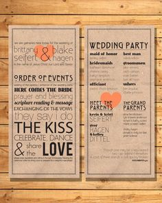 Spice up the traditional wedding ceremony program with some clever ...