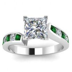 Princess Cut Emerald & Diamond Engagement Ring - Unusual Engagement Rings Review