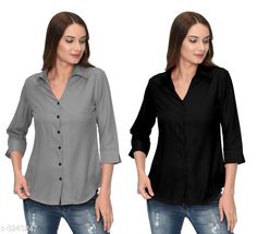Shirts Glamorous Contemporary Women's Polyester Solid Women's Shirts(Pack Of 2) Fabric: Polyester   Sleeves: 3/4 Sleeves Are Included Size: S - 36 in M - 38 in L - 40 in XL - 42 in Length: Up To 28 in Type: Stitched Description: It Has 2 Pieces Of Women's Shirts Pattern: Solid Country of Origin: India Sizes Available: S, M, L, XL   Catalog Rating: ★4 (283)  Catalog Name: Glamorous Contemporary Women's Polyester Solid Women's Shirts Combo CatalogID_446772 C79-SC1022 Code: 405-3240247-1131