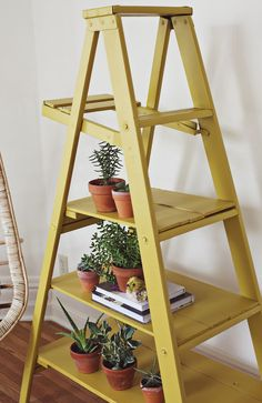 Turn an old ladder into a cool bookshelf.  Once I move into a bigger space, I am totally doing this.