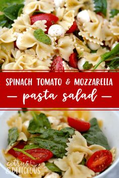 Say hello to a fresh spinach, tomato and mozzarella pasta salad, a wonderfully flavorful hybrid between a classic spinach salad and a lightly dressed summertime pasta salad. #pastasalad #appetizer #spinach #mozzarella #tomatoes