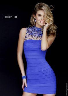 Sherri Hill 32263 High Neck Beaded Illusion Bandage Dress - Homecoming 2015