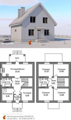 3d House Plans, Model House Plan, Vintage House Plans, Dream House Plans, Small House Plans, Villa Plan, Attic House, House Roof, Farmhouse Plans