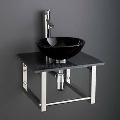 Wall Hung 45cm Square Black Marble Shelf with 31cm Monza Round Black Glass Sink Set  £219 www.clickbasin.co.uk