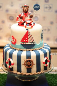 40 ideas for cake designs anniversaire birthdays Nautical Birthday Cakes, Nautical Cake, Baby Birthday Cakes, Cake Baby, Nautical Party, Sailor Cake, Marine Cake, Shower Bebe, Cakes For Boys