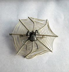 SOLD $39.00  Large Vintage STERLING 925 SPIDER & Web Pin- Brooch Marked MMA by feathersoup on Etsy