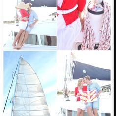 Nautical theme engagement photos.