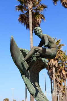 Huntington Beach surfer statue in Orange county California