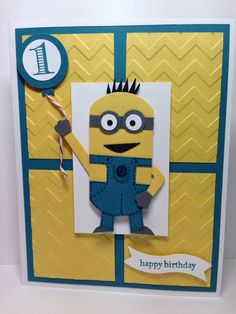 Photo on Stampin' Harley Girl: Stampin' Up! Minion Card - Like the embosssing Minions, Minion Card, Boy Cards, Kids Cards, Cute Cards, Hand Made Greeting Cards, Making Greeting Cards, Punch Art Cards, Shower Bebe