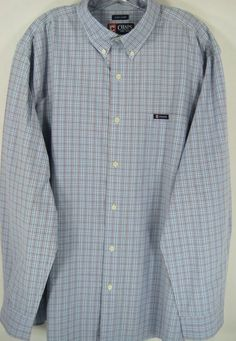 Chaps Men Button-Front Shirt Size 2XL Blue White Red Cotton Blend. #Chaps #ButtonFront