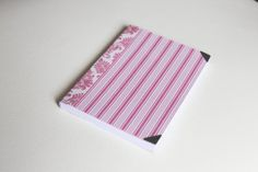 Handmade note book with pink and white stripes by TagandPack, €5.00