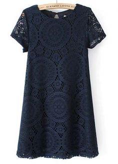 Fine Quality A Line Design Navy Blue Dress