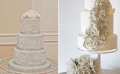 gray and ivory wedding cakes by Edible Art South Africa left and The Pastry Studio right