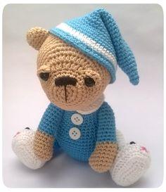 Pajamas Bear. Pattern design by Kristi Tullus at sidrun.spire.ee Handmade by Mucau Amigurumi.