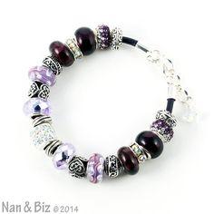 Autumn Twilight European charm bracelet lavender to by NanandBiz