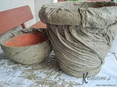cement cloth planters (click through and use the translate button to see in English)