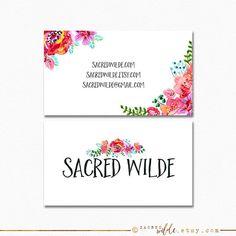 Bohemian Floral Business Card Design Flower by SacredWilde