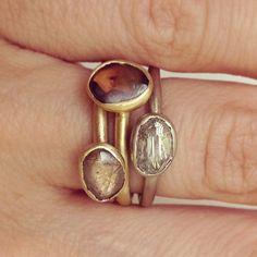 "@ruthtomlinsonjewellery's photo: ""New colour ways #Rawdiamonds #ringstack #lustrecollection"""