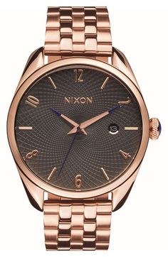 Free shipping and returns on Nixon 'Bullet' Guilloche Dial Bracelet Watch, 38mm at Nordstrom.com. An optic guilloche dial lends rewarding intrigue to a classic five-link bracelet watch displaying three-hand time and a handy date window.