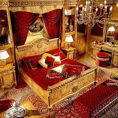 Baroque Bedroom Sets - Ideas on Foter Baroque Bedroom, Victorian Bedroom, Gold Bedroom, Bedroom Decor, Victorian Parlor, Luxury Interior, Interior Design, Simple Bedroom Design, Hotel Room Design