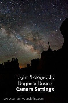 Photography Beginner Basics: Camera Settings Last post, we talked about basic gear. This post, we'll talk about camera settings. But first, lets talk about star movement.Star MovementStars move across the sky. This isn't actually true, as this movement is Night Time Photography, Dslr Photography Tips, Star Photography, Photography Tips For Beginners, Photography Lessons, Photography Tutorials, Digital Photography, Landscape Photography, Photography Business