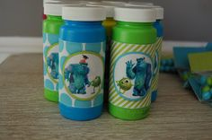 monsters inc party - wrap bubbles to make favors