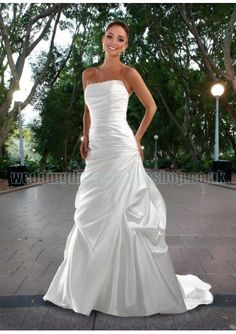Satin Strapless Beaded Straight Neckline Rouched Bodice A-Line Pick-up Skirt With Chapel Train 2012 New Wedding Dress WD-1226