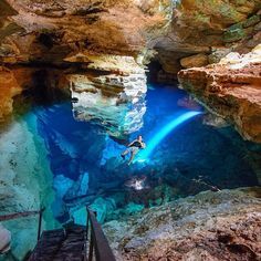 Brazil's Poço Azul cave has water as clear as the Caribbean