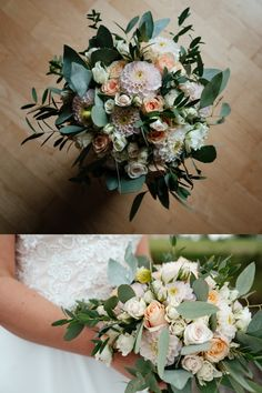 Sommerbrud, august.  Inspiration, roser, peach, fersken, pastels, eukalyptus, pastell, pastels, roses, pink, rosa, dahlia. Dahlia, Floral Wreath, Pink, Peach, Wreaths, Inspiration, Table Decorations, Wedding, Home Decor
