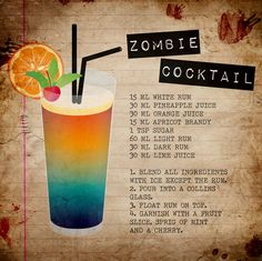 A spooky-good drink. The Zombie Cocktail is a crowd-pleasing Halloween drink perfect for your Halloween Party. A delicious fruity cocktail with rum and fruit juices. Halloween Cocktails, Fun Cocktails, Cocktail Drinks, Alcoholic Drinks, Beverages, Alcholic Halloween Drinks, Halloween Shooters, Bourbon Drinks, Zombie Drink