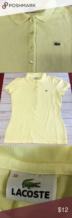 Lacoste Girls Yellow Short Sleeve Weave Shirt Size 38 (8). Great condition. Lacoste Shirts & Tops