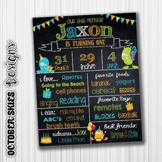 Monster Birthday Chalkboard / Chalkboard Poster / Printable / Custom / 1st year / Printable Chalkboard by OctoberSkiesDesigns on Etsy