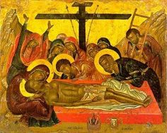 BXM 1560 The Lamentation. This icon is signed by the Cretan artist Emmanuel Lambardos. It reproduces an iconographic type tha. Byzantine Icons, Byzantine Art, Religious Icons, Religious Art, Anima Christi, Fall Of Constantinople, Orthodox Catholic, Holy Saturday, Last Supper