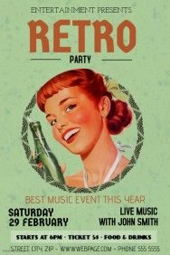 vintage retro party bar flyer template