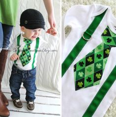 St. Patrick's Day Baby Gift:   Customizable Boys Irish Tie Bodysuit Onesie by Chic Couture Boutique @ Etsy