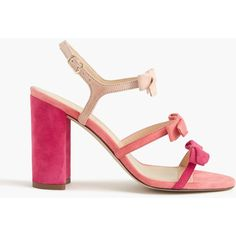 J.Crew Women's Stella Bow Sandals In Fuschia ($218) ❤ liked on Polyvore featuring shoes, sandals, strappy sandals, j crew shoes, chunky-heel sandals, bow t-strap sandal and high heel shoes
