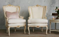 Pair Vintage Shabby Cream Gilt Wing Back Bergere Chairs