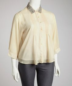 Take a look at this Cream Embellished Pleated Button-Up - Plus by High Fashion on #zulily today!