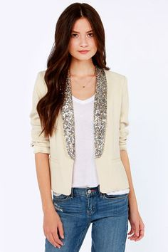 Dress this Blazer Up or Down!!  BB Dakota Belle Light Beige Sequin Blazer at LuLus.com!  #lulus #holidaywear