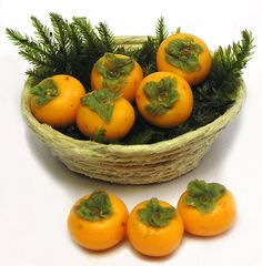 Kiva's Miniatures: Persimmons....in a basket with fern