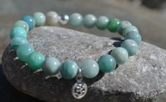 Yoga Bracelet amazonite healing beaded gemstone by nuttygals