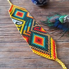 Your place to buy and sell all things handmade Peyote Patterns, Loom Patterns, Beading Patterns, Beaded Jewelry, Beaded Bracelets, Beadwork Designs, Native American Beadwork, Loom Beading, Bead Art