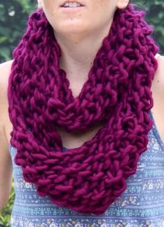 Hand Knit Bulky Infinity Cowl Scarf in Maroon and by bpenatzer, $76.00