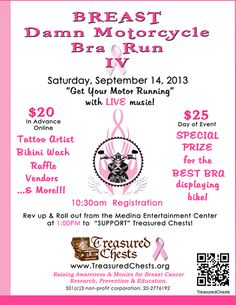 Medina, MN - Sept. 14, 2013: Breast Damn Motorcycle Run for the Treasured Chests Foundation to raise awareness and monies for breast cancer research, prevention and education