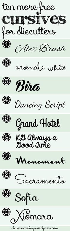 Here's a list of 10 more cursive fonts that cut and weld wonderfully, and, as you can see, they look great as well. Fonts that weld easily are those that your die cutter can easily connect to cut o… Silhouette Fonts, Silhouette Machine, Silhouette Cameo Projects, Silhouette Cameo Wedding, Fancy Fonts, Cool Fonts, Swirly Fonts, Pretty Fonts, Cursive Fonts