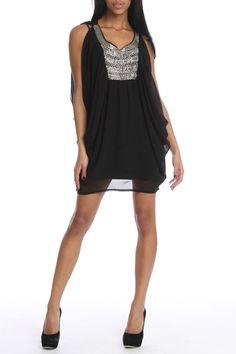 Black Beaded & Draped Dress